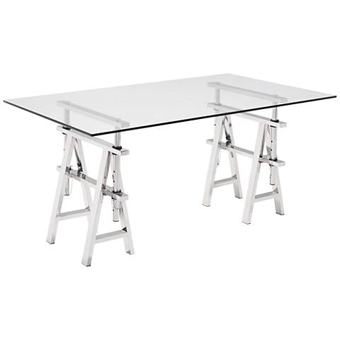 Zuo Lado Clear Tempered Glass Rectangular Writing Desk
