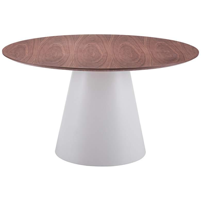 "Zuo 53 1/2""W Query Walnut Veneer Modern Round Dining Table"