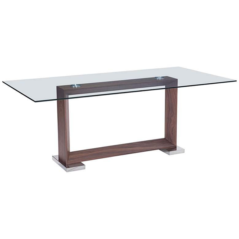 """Zuo Oasis 78 3/4"""" Wide Walnut Stainless Steel Dining Table"""