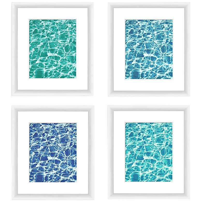 "Clear Aquas 14""x16"" 4-Piece Framed Wall Art Set"