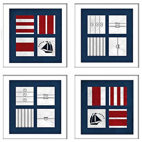 """Nautical Quads 22"""" Square 4-Piece Framed Wall Art Set"""