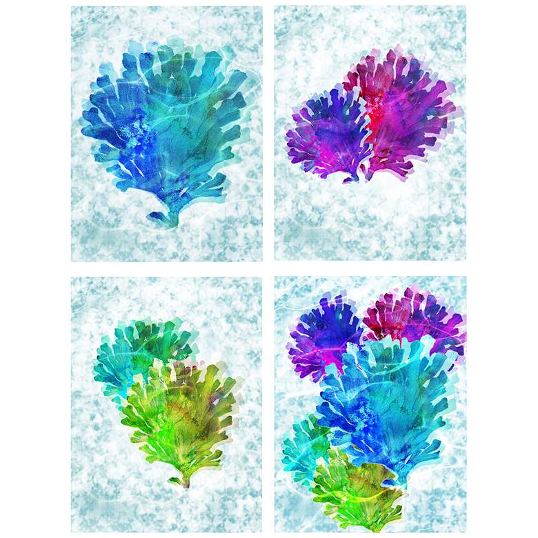 """Colorful Coral Fans 12""""x16"""" 4-Piece Framed Wall Art Set"""