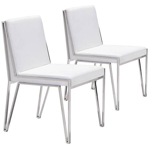 Zuo Kylo White Leatherette Zig-Zag Dining Chair Set of 2