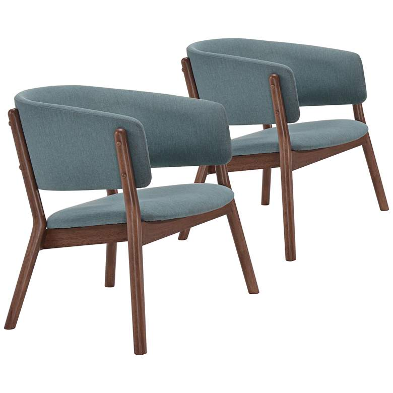 Zuo Chapel Teal Blue Wraparound Armchair Chair Set of 2