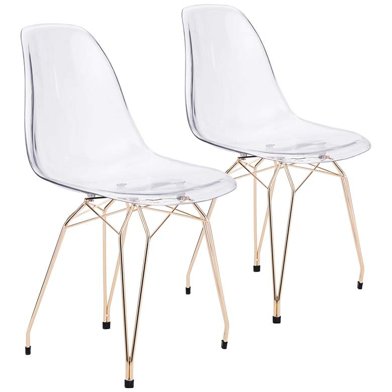 Zuo Shadow Transparent Seat Modern Dining Chairs - Set of 2