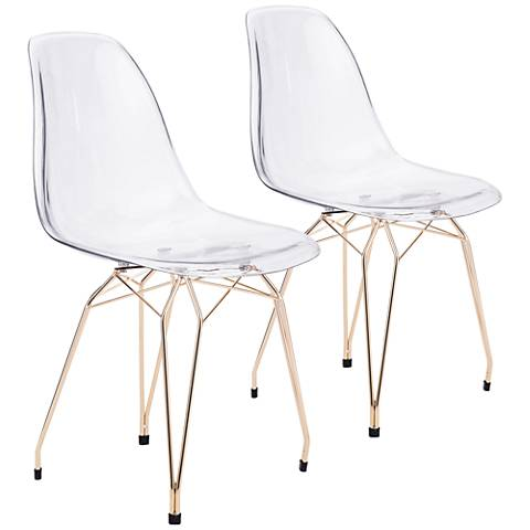 Zuo Shadow Transparent Seat Gold Dining Chair Set of 2