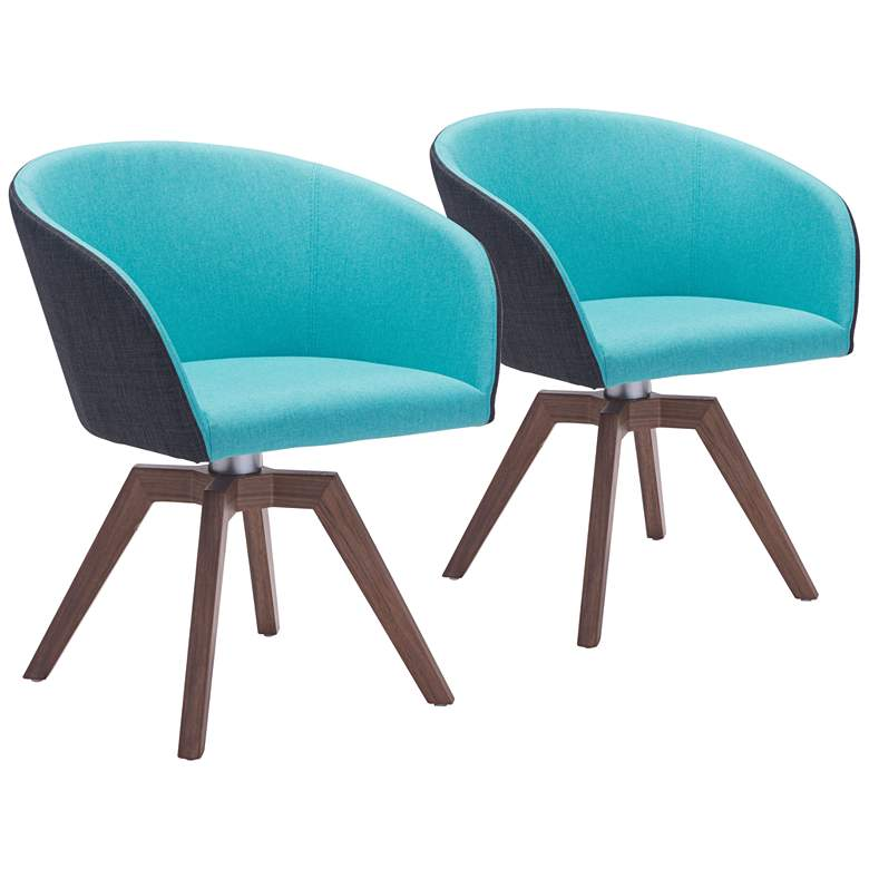 Zuo Wander Blue and Gray Accent Armchair Set of 2