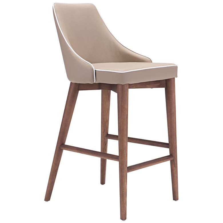 """Zuo Moor 26"""" Beige Leatherette Metal Counter Chair"""