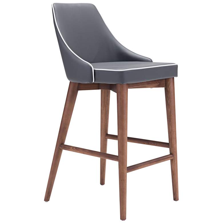 "Zuo Moor 26"" Dark Gray Leatherette Metal Counter Chair"