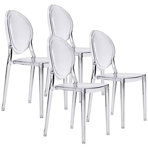 Zuo Specter Clear Molded Dining Chair Clear Set of 4