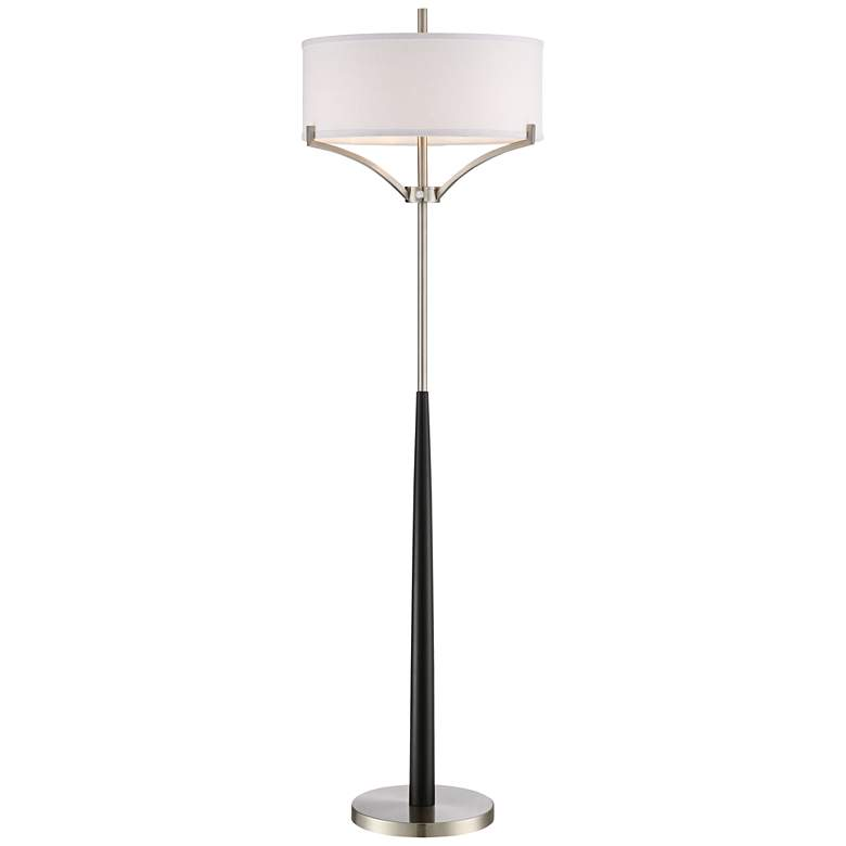 Avery Black and Brushed Nickel Column Floor Lamp