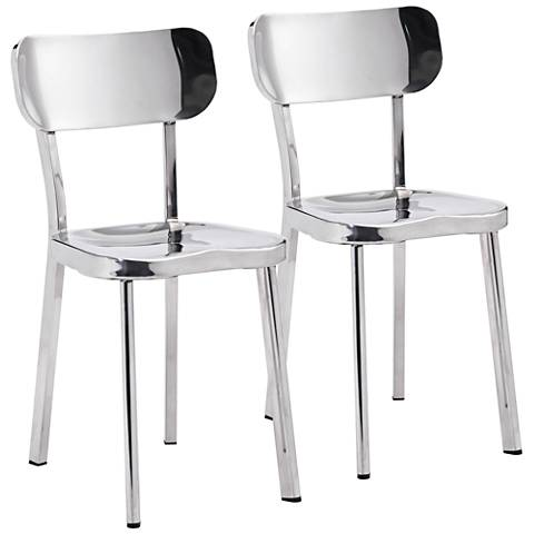 Zuo Winter Classic Stainless Steel Dining Chair Set of 2