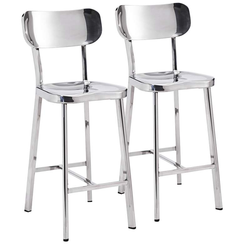 """Zuo Winter 24 1/2"""" Stainless Steel Counter Stool Set of 2"""
