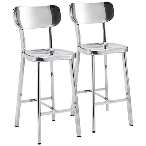 "Zuo Winter 24 1/2"" Stainless Steel Counter Stool Set of 2"
