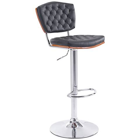 Zuo Tiger Black Leatherette Swivel Adjustable Bar Chair