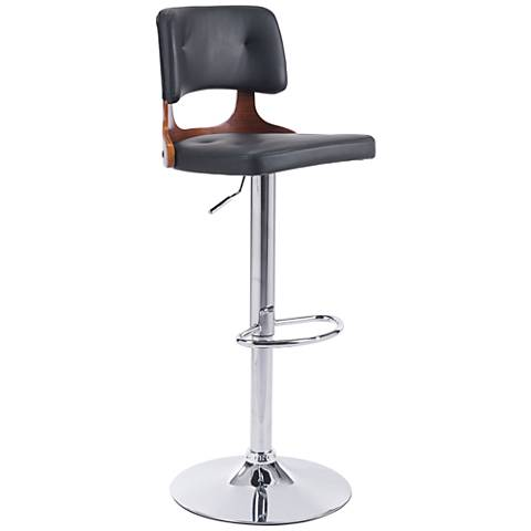 Zuo Lynx Black Leather Chrome Adjustable Swivel Bar Stool