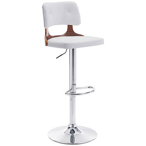 Zuo Lynx White Leatherette and Chrome Adjustable Bar Stool