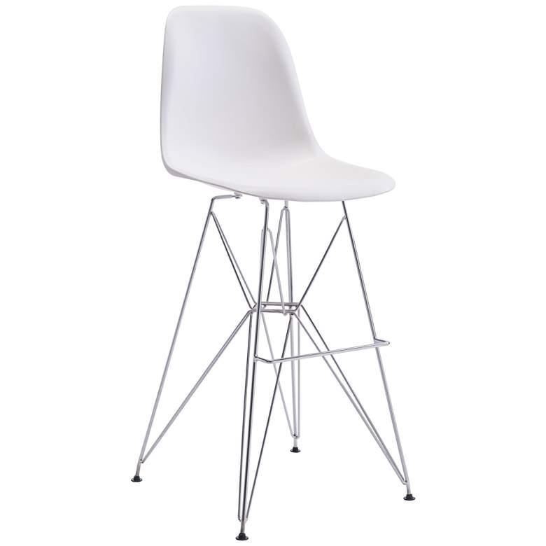 "Zuo Zip 28 3/4"" High White Seat Modern Bar Chair"