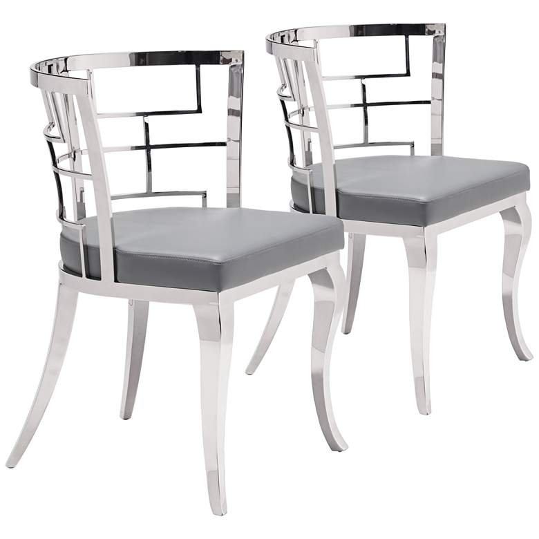Zuo Quince Gray Leatherette Dining Chair Set of 2