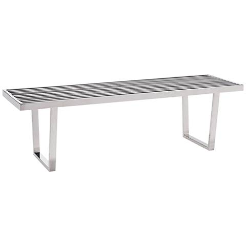 Zuo Niles Polished Steel Rectangular Modern Bench