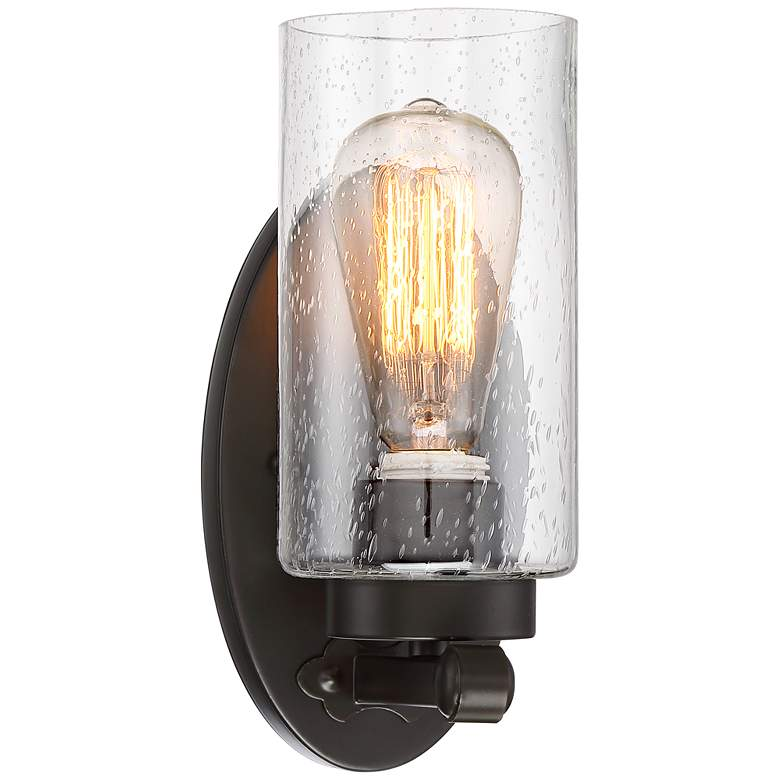 """Holman 9 3/4"""" High Seedy Glass and Bronze Wall Sconce"""