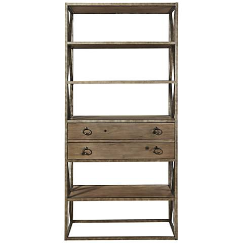 Authenticity Khaki Wood and Metal 2-Drawer Etagere