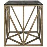 "Authenticity 24"" Wide Glass Top and Khaki Truss End Table"