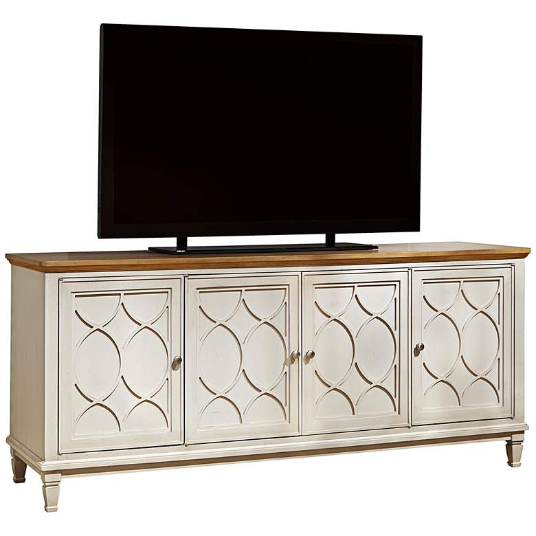"Moderne Muse 76"" Wide Bisque 4-Door Entertainment Console"