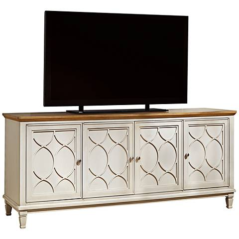 Moderne Muse Bisque 4-Door Entertainment Console