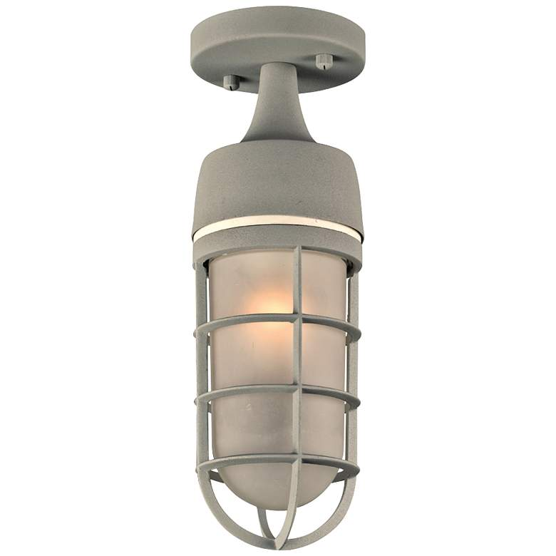 """Cage 13"""" High Silver Outdoor Ceiling Light"""