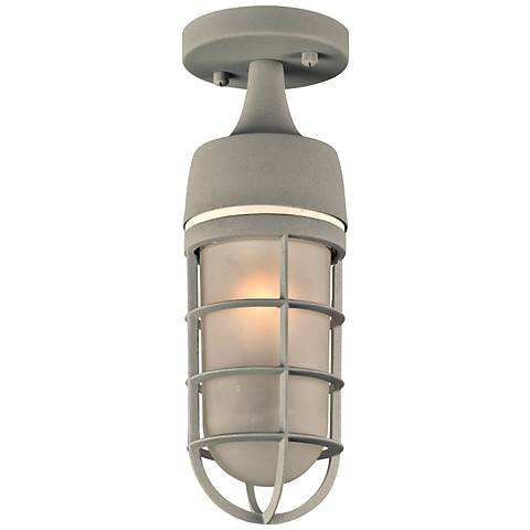 "Cage 13"" High Silver Outdoor Ceiling Light"
