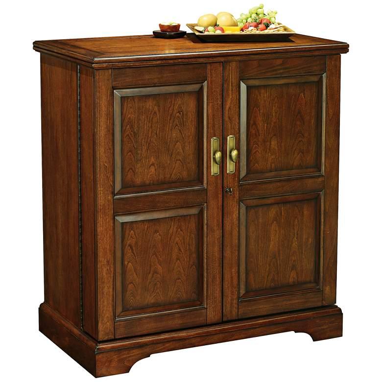 "Lodi 38 1/2"" Wide Cherry Finish 2-Door Wine and Bar Cabinet"