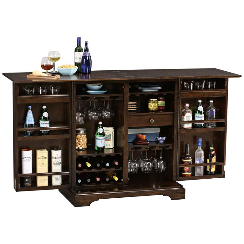 Benmore Valley Rustic Hardwood 2-Door Wine and Bar Cabinet