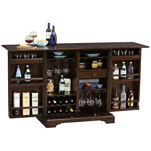 Benmore Valley Rustic Hardwood 2-Door Wine and Bar Cabinet