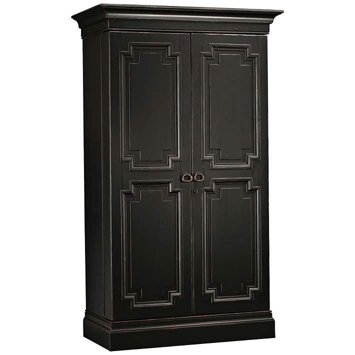Worn Black 2 Door Wine And Bar Cabinet
