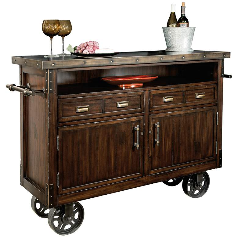 "Barrows 52"" Wide Rustic Wood Wheeled Wine and"