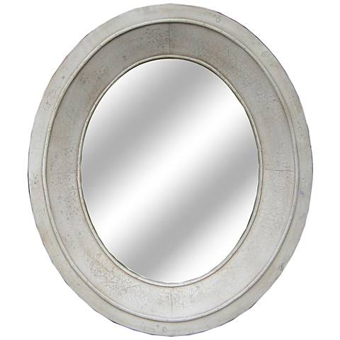 """Crestview Collection Shiny White 28""""x32"""" Oval Mirror"""