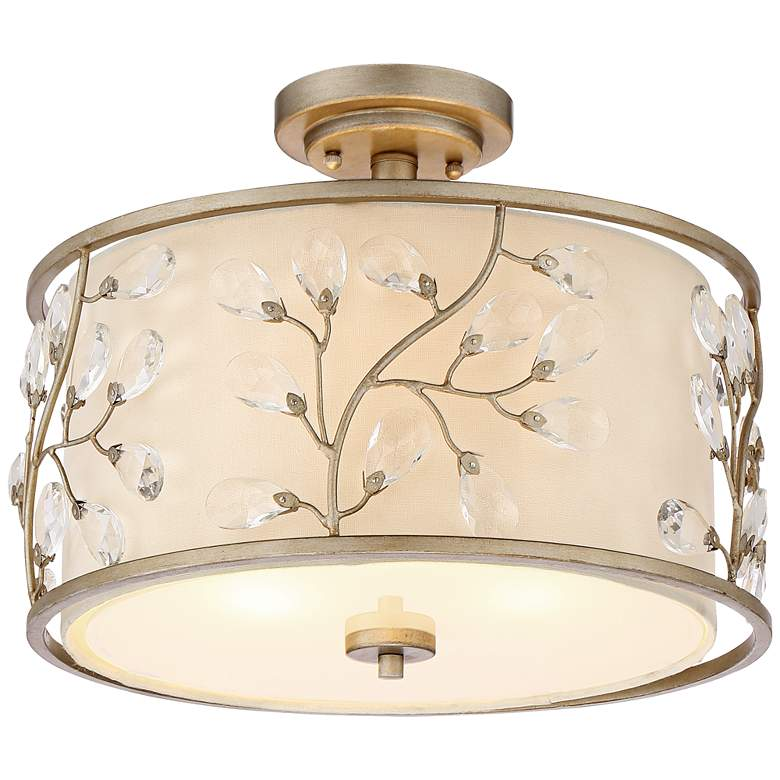 """Crystal Buds 16"""" Wide Antique Silver Drum Ceiling Light"""