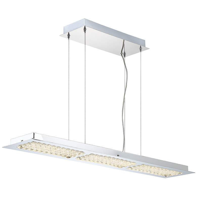 "Denso 39 1/2"" Wide Chrome 3-LED Kitchen Island Light Pendant"