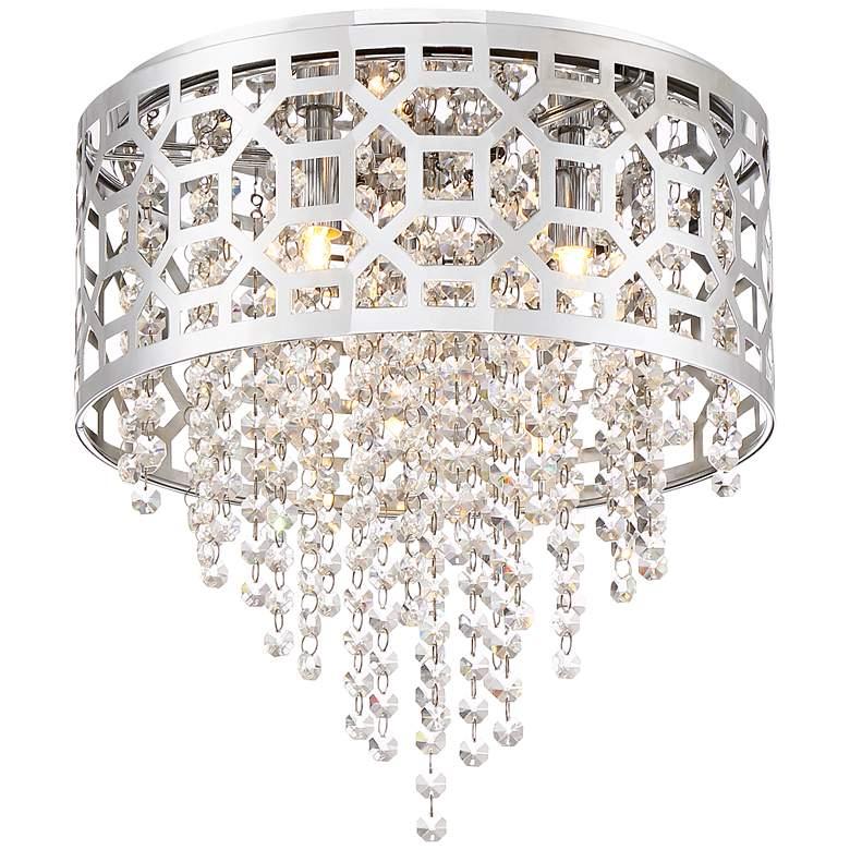 "Possini Euro Corrina 12 3/4"" Wide Chrome Drum Ceiling Light"
