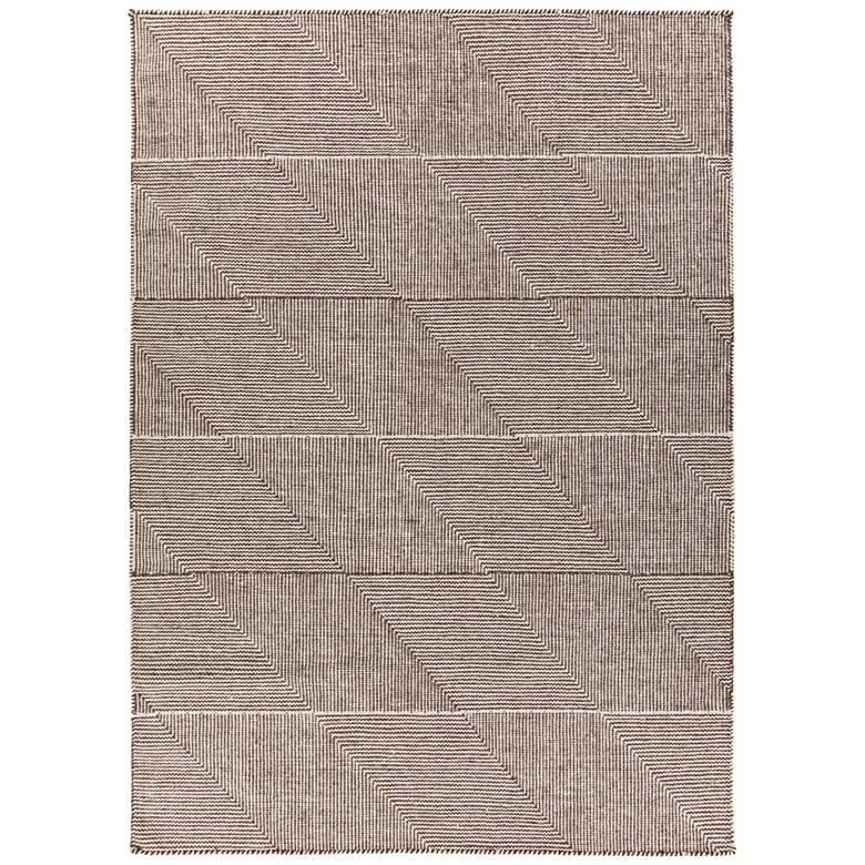 "Chandra Bristol 5'x7'6"" Brown and White Wool Area Rug"