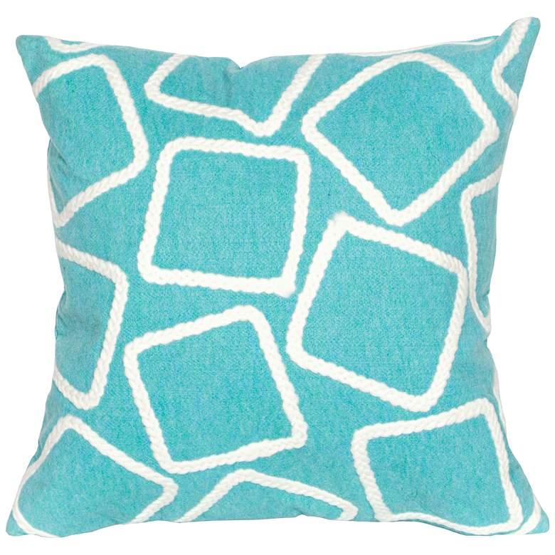 "Visions I Squares Aqua 20"" Square Indoor-Outdoor Pillow"