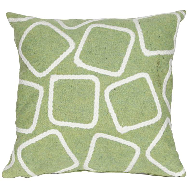 "Visions I Squares Lime 20"" Square Indoor-Outdoor Pillow"