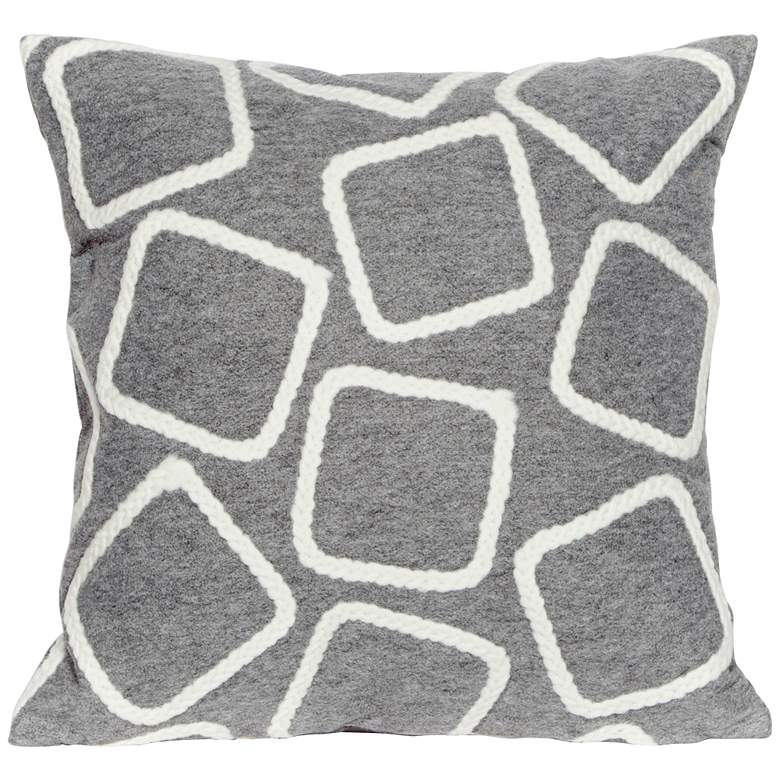 """Visions I Squares Silver 20"""" Square Indoor-Outdoor Pillow"""
