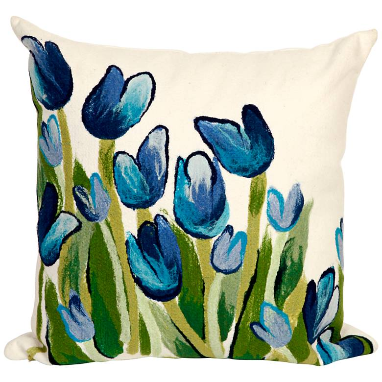 "Visions II Allover Tulips Blue 20"" Indoor-Outdoor Pillow"