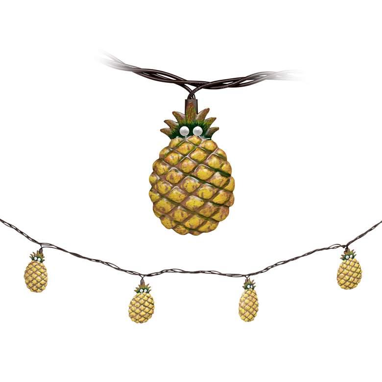 10-Light Metal Pineapple Indoor/Outdoor String Light Set
