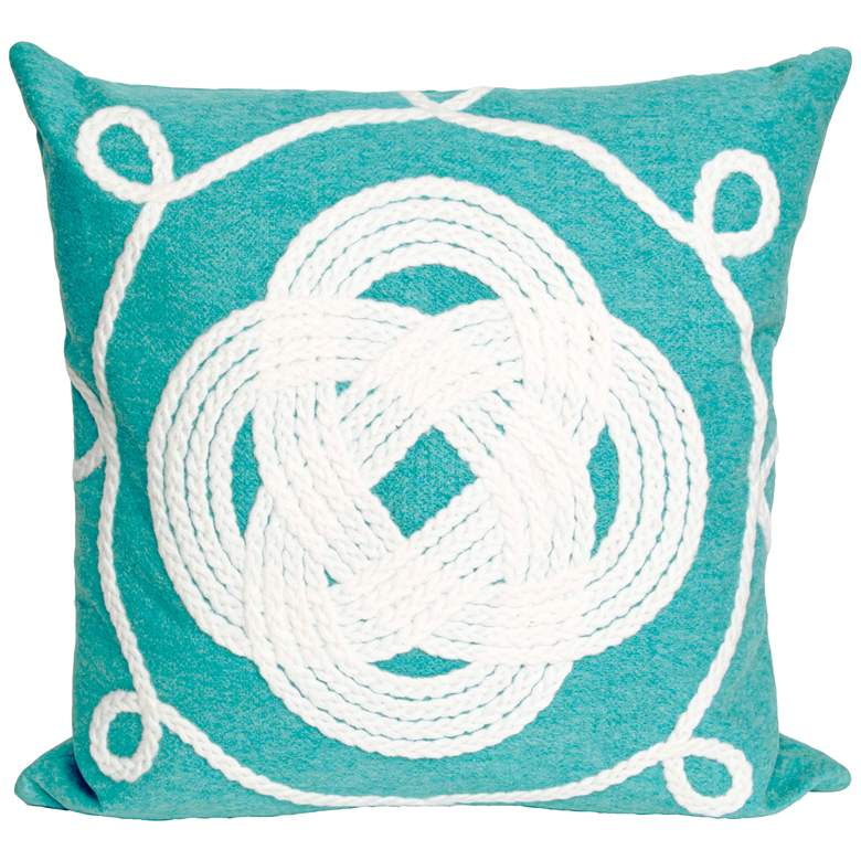 """Visions II Ornamental Knot Aqua 20"""" Indoor-Outdoor Pillow"""