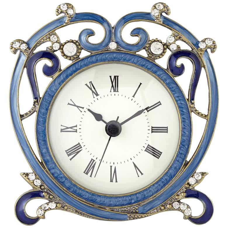 """Marbaix Blue 4 3/4"""" Wide Table Clock"""
