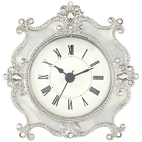 "Corboux Ivory 5"" Wide Table Clock"