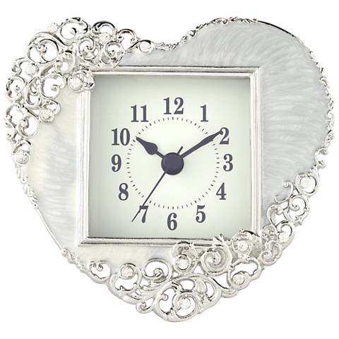"Marieu Ivory 5 1/4"" Wide Heart Table Clock"